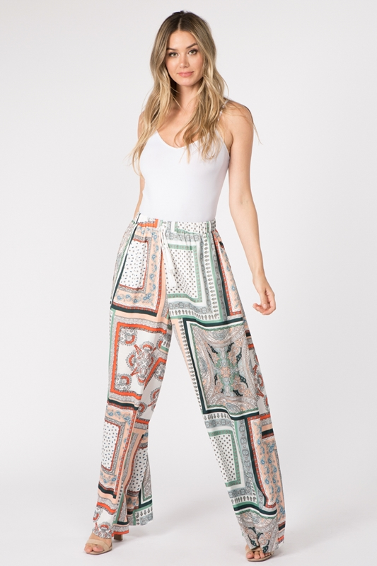 Picture of Bohemian Scarf Print Wide Leg Pant