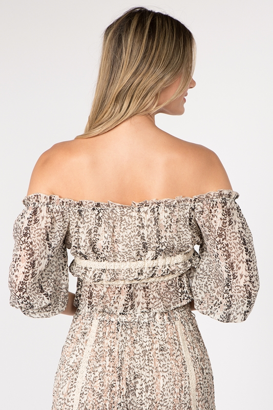 Picture of Floral Print Off Should Crop Top