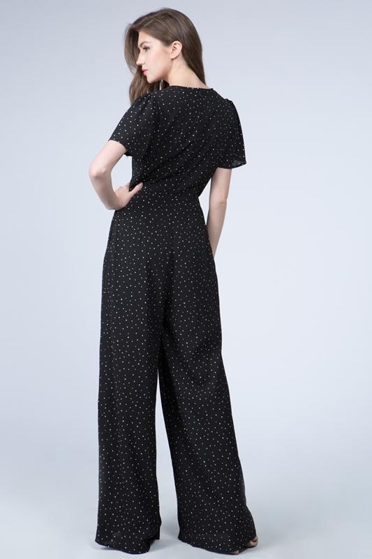 Picture of Polka Dot V Neck Short Sleeve Jumpsuit