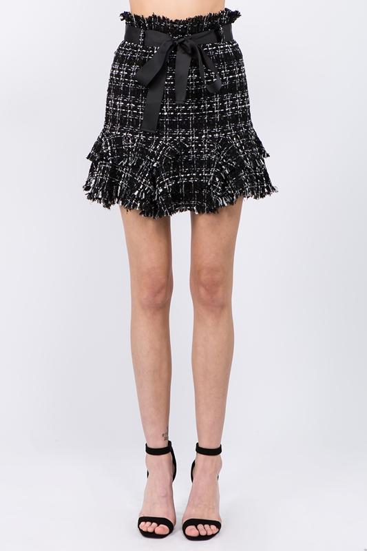 Picture of Ruffle Hem Tweed Skirt