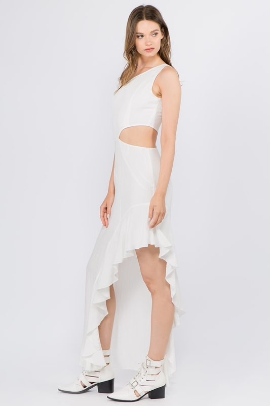 Picture of One Shoulder Sleeveless Asymmetric Dress
