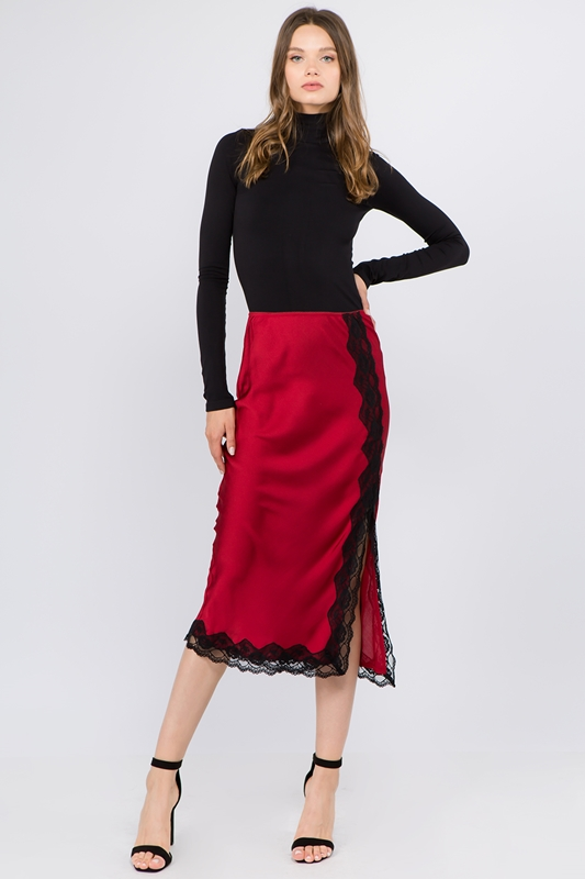Picture of Lace Trim Satin Bias Midi Skirt